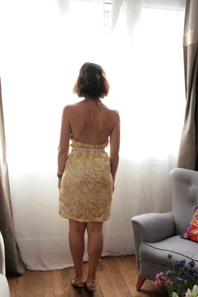 robe dos nu soie jaune 040