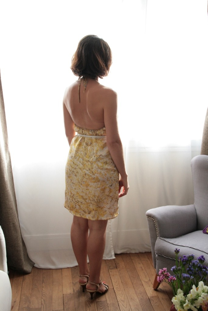 robe dos nu soie jaune 041